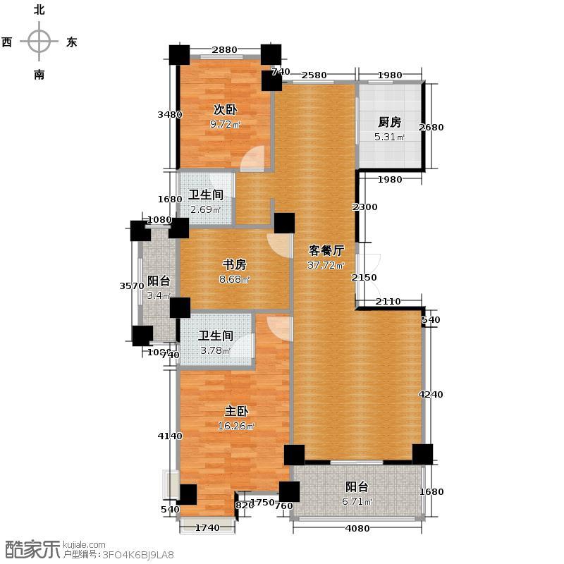 世纪花园125.00㎡户型3室1厅2卫1厨