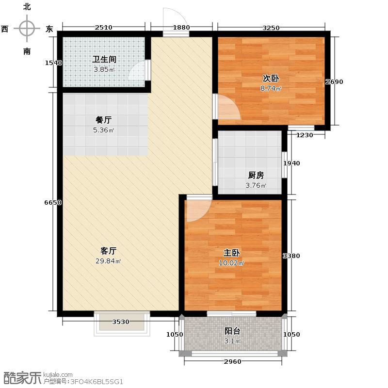 竹境88.26㎡C户型2室2厅1卫