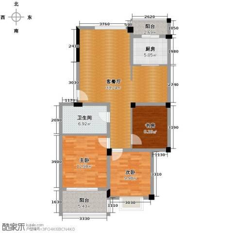 水木清华3室1厅1卫1厨121.00㎡户型图