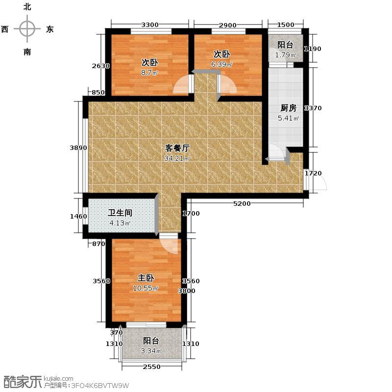 御景阁111.23㎡户型3室2厅1卫