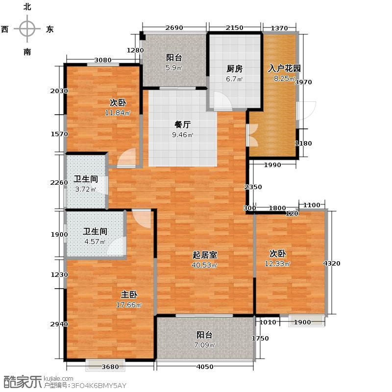 中电颐和家园136.66㎡三期G户型3室2厅2卫