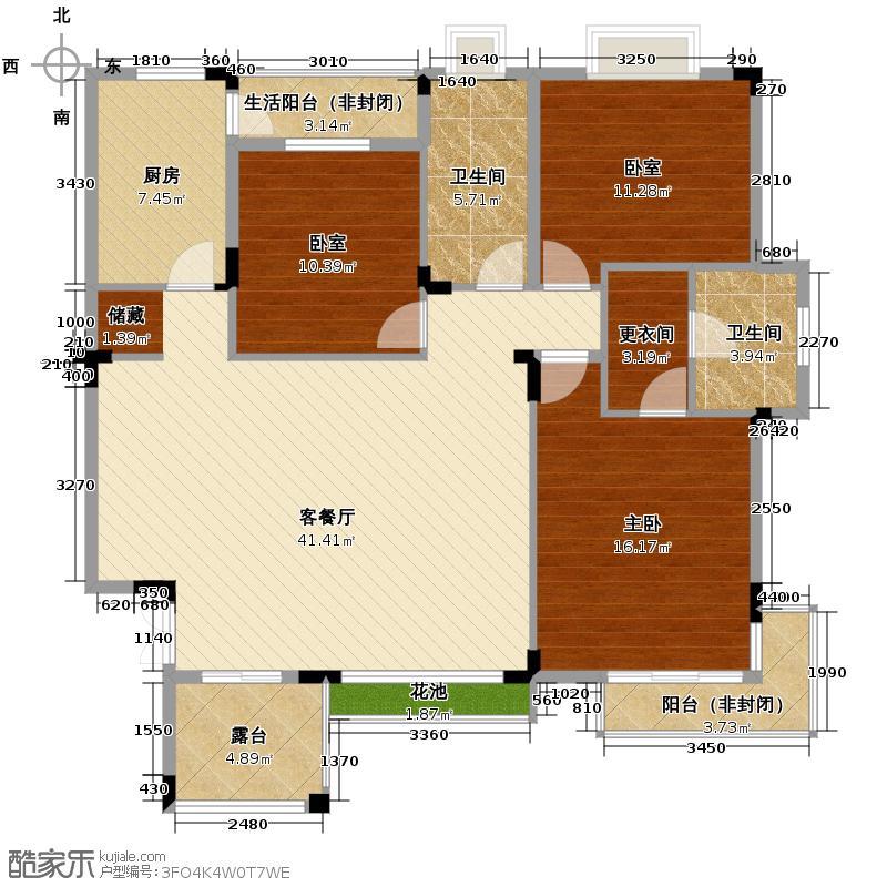 三水一生别墅125.90㎡户型1室1厅2卫1厨
