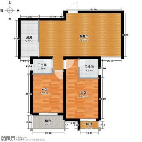 上城尔湾2室1厅2卫1厨101.00㎡户型图