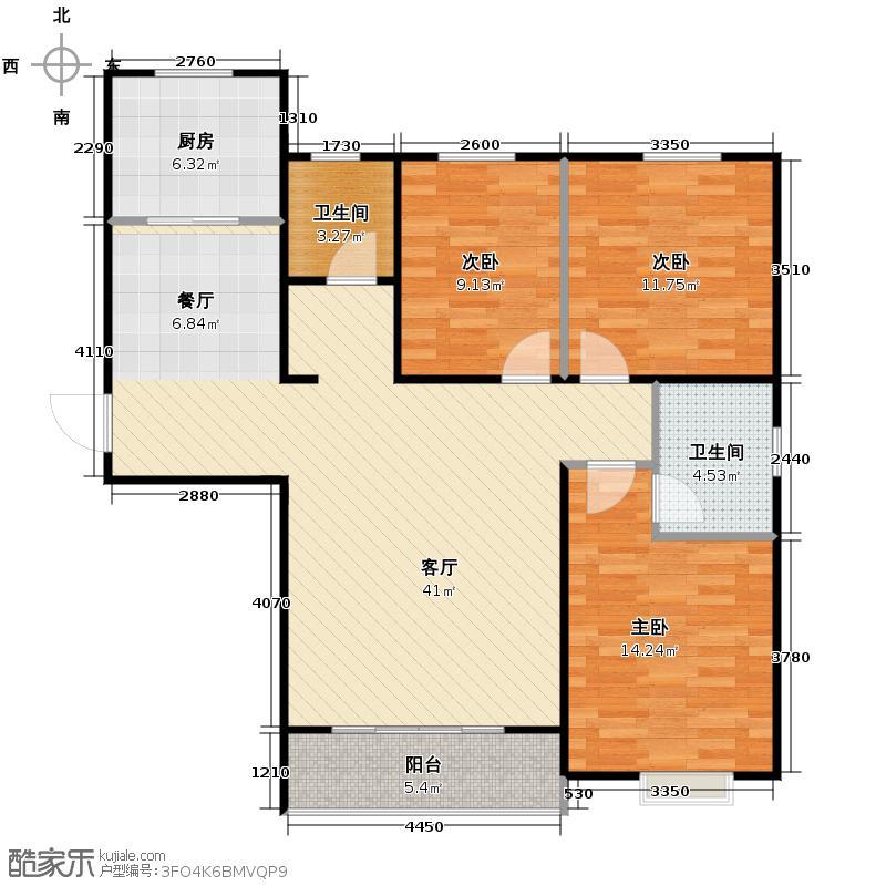 金日丽景二期131.23㎡户型3室2厅2卫