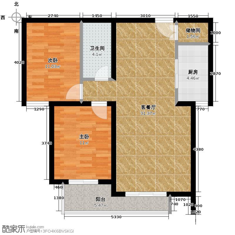 御景阁93.96㎡20号楼户型2室2厅1卫