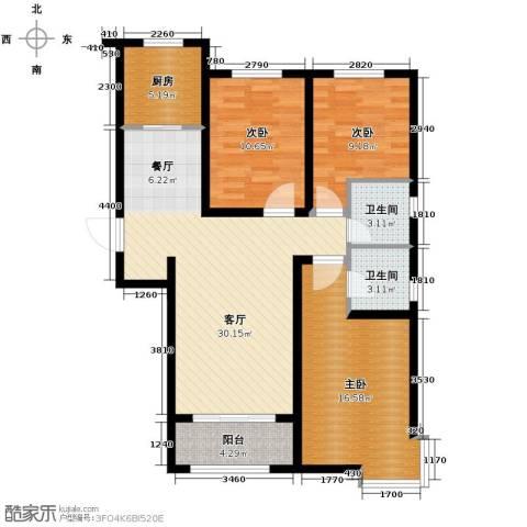 上城尔湾3室1厅2卫1厨117.00㎡户型图