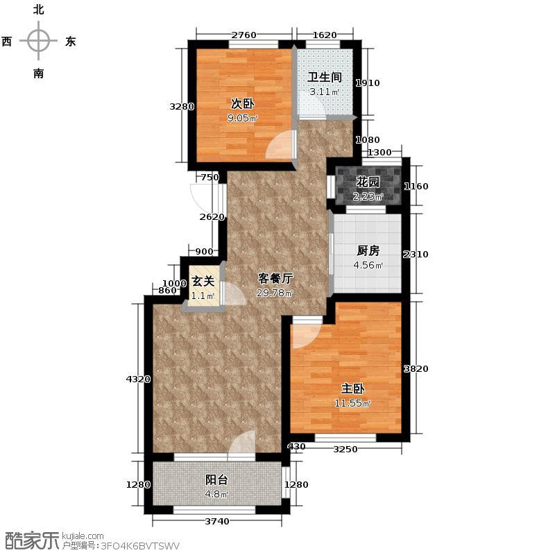 朗诗保利麓院88.00㎡6#205户型2室2厅1卫