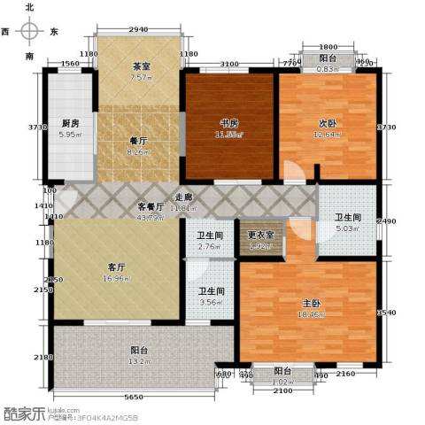 开维生态城3室1厅2卫1厨136.00㎡户型图