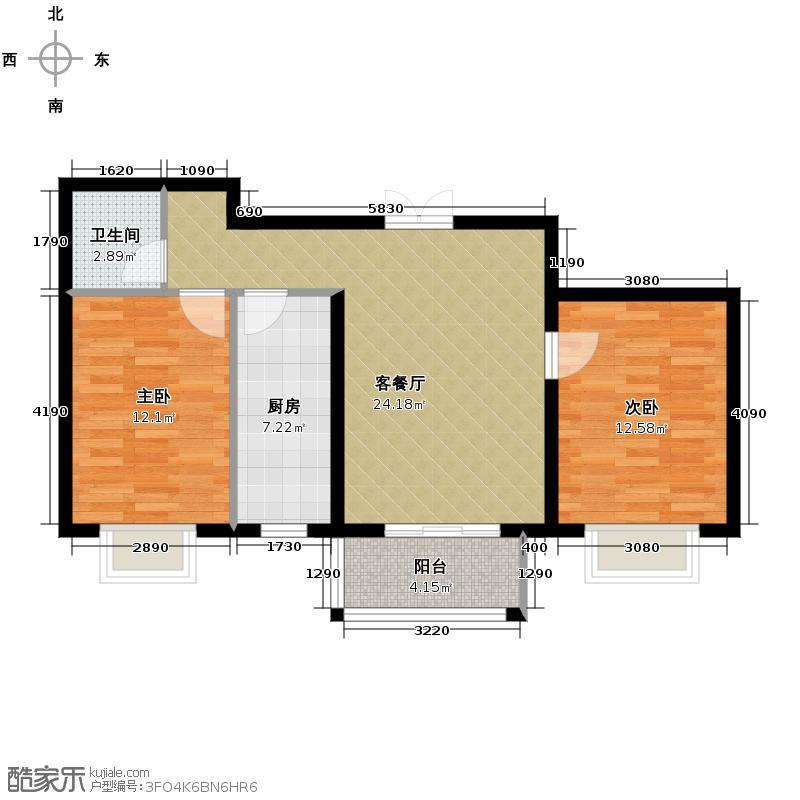 众美城廊桥四季84.10㎡11#、12#楼2B-1户型2室1厅1卫1厨