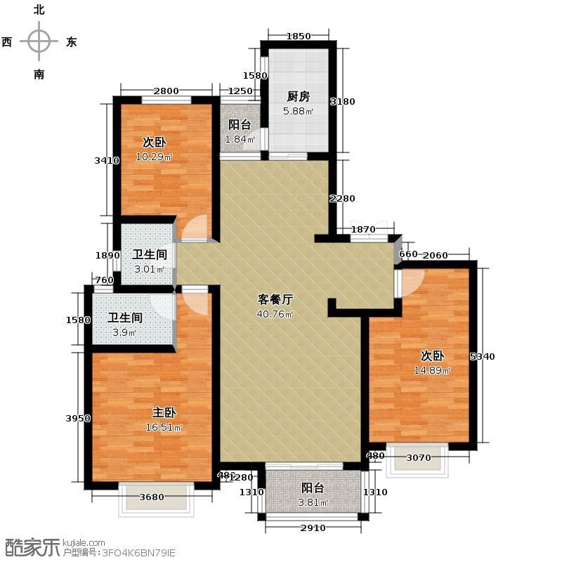 众美城廊桥四季137.29㎡7-9号楼4b户型3室1厅2卫1厨