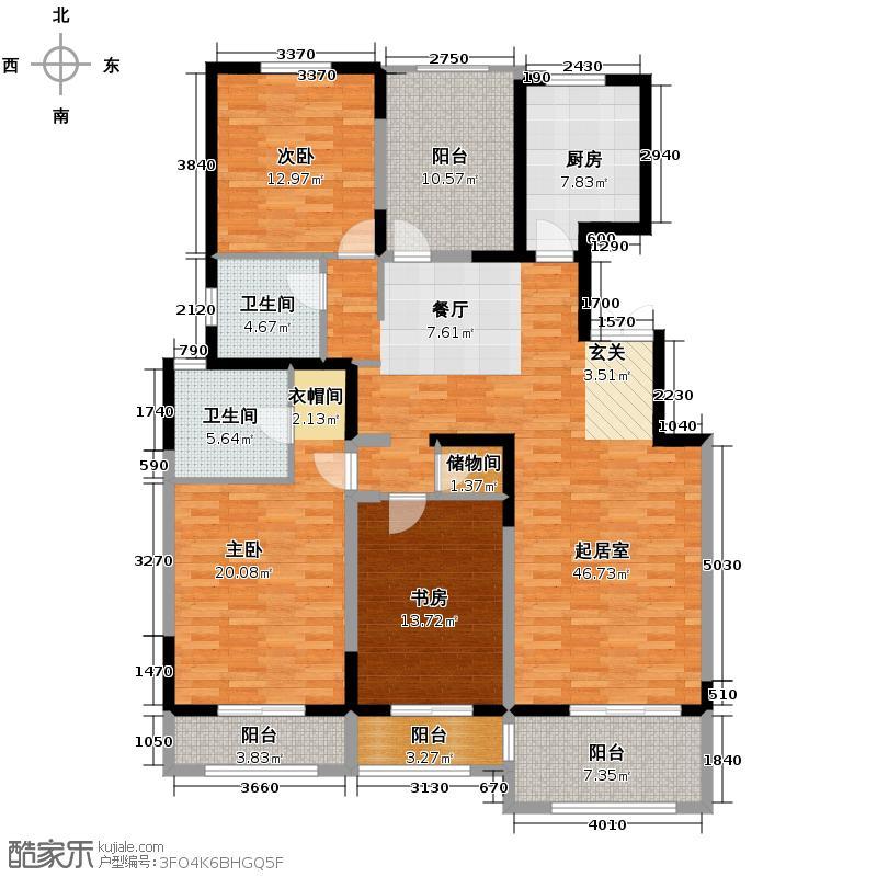 香江湾165.56㎡B1-2户型3室2厅2卫