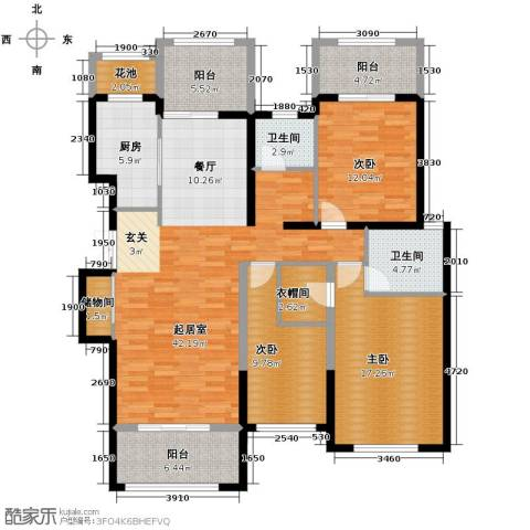 香江湾3室2厅2卫0厨160.00㎡户型图
