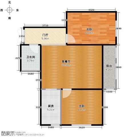 金域蓝城2室1厅1卫1厨85.00㎡户型图