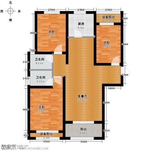 西溪诚园3室2厅2卫0厨123.00㎡户型图
