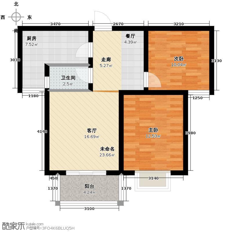 中山凯旋门91.73㎡A2户型2室2厅1卫