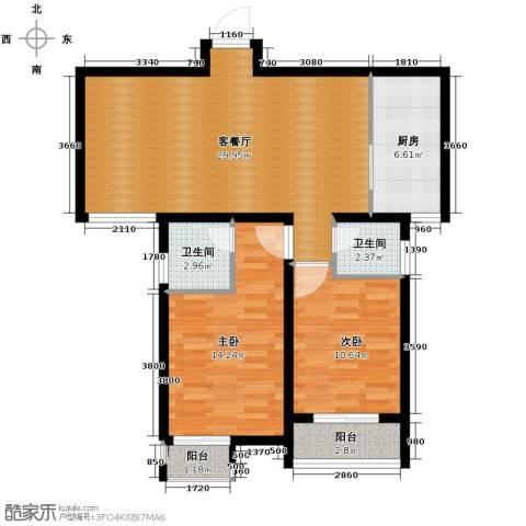 上城尔湾2室1厅2卫1厨103.00㎡户型图