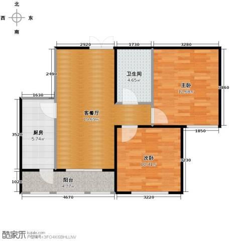金域蓝城2室1厅1卫1厨78.00㎡户型图