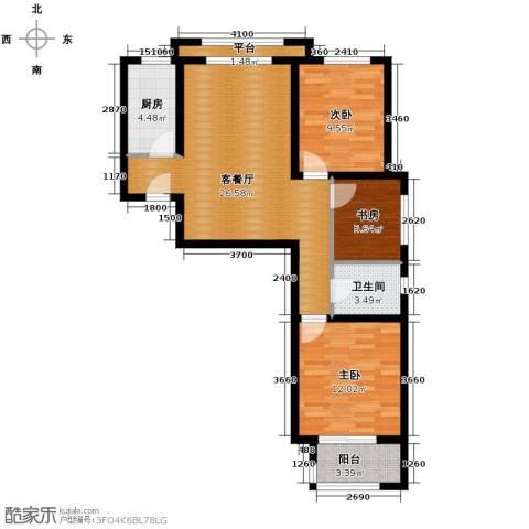 西溪诚园3室2厅1卫0厨100.00㎡户型图