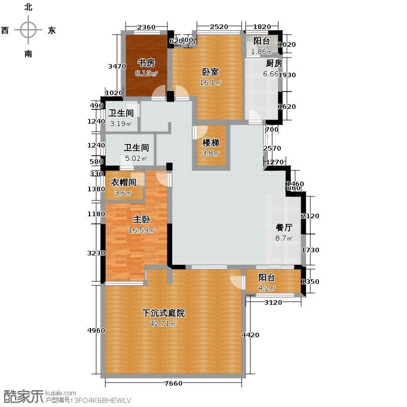 紫玉山庄146.61㎡03栋-1层户型1室2厅2卫