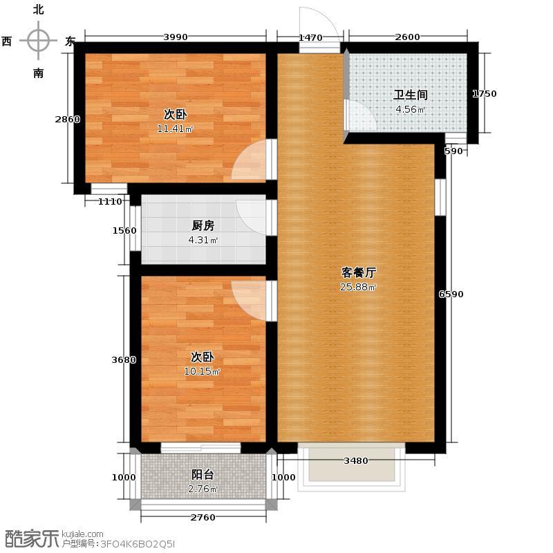 雍和慢城85.90㎡6/8#D户型2室2厅1卫