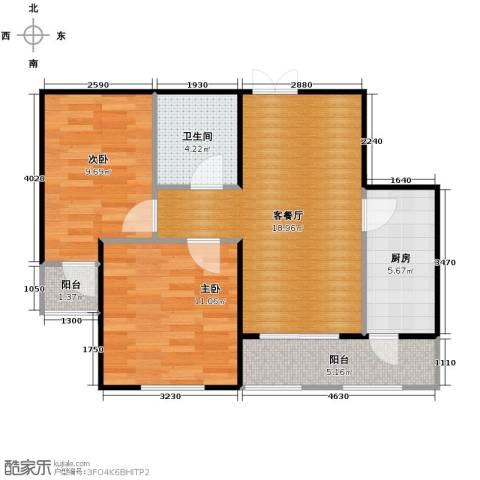 金域蓝城2室1厅1卫1厨76.00㎡户型图