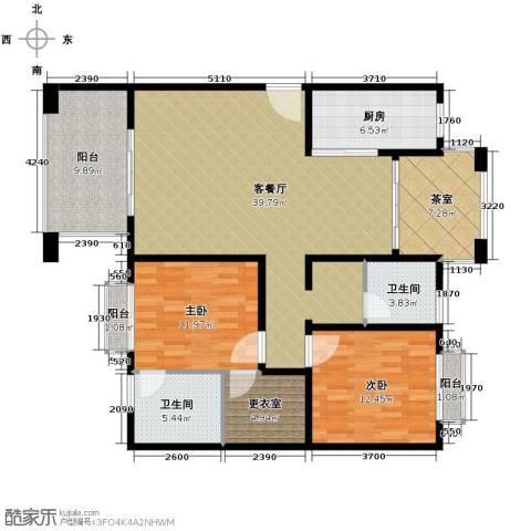 开维生态城2室1厅2卫1厨106.00㎡户型图