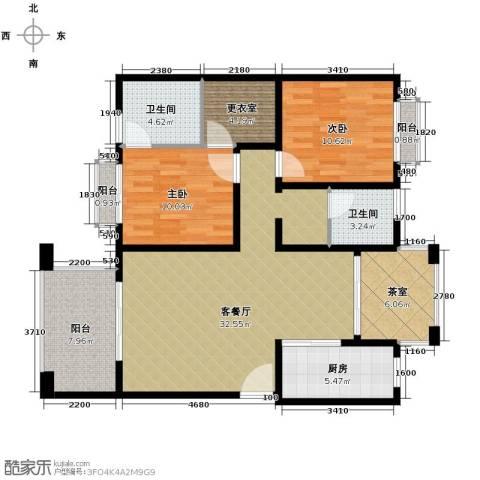 开维生态城2室1厅2卫1厨104.00㎡户型图
