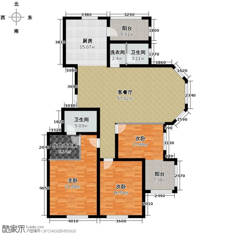 辰能溪树庭院121.40㎡12-2614-2一单元01号户型3室1厅2卫