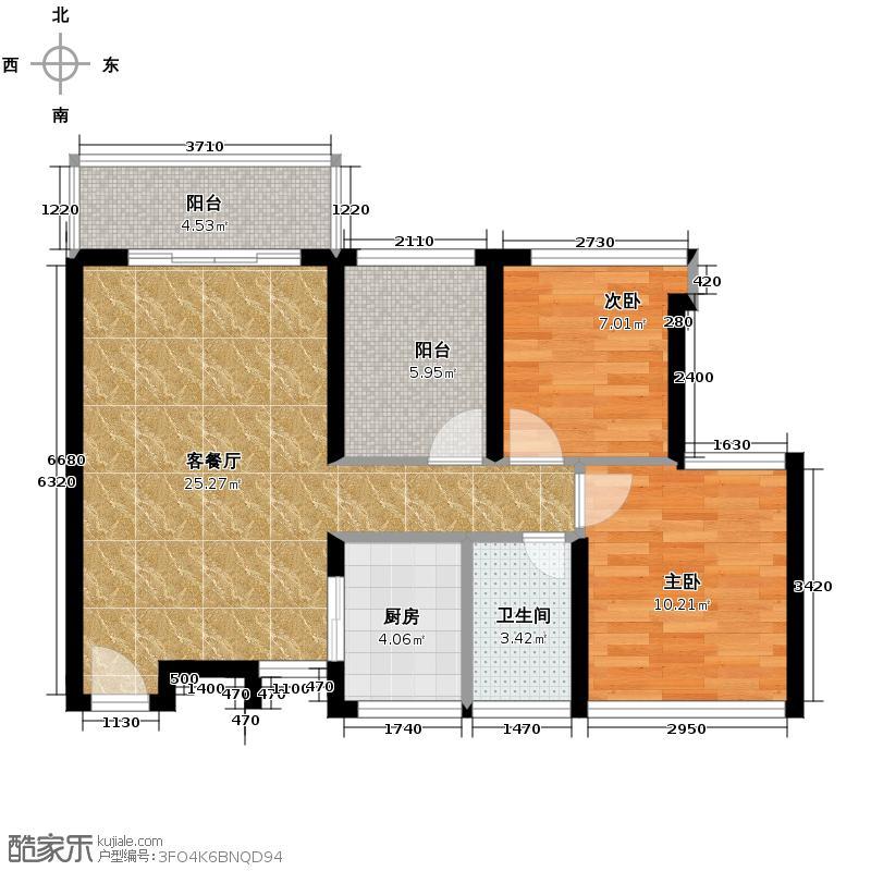 东海银湾81.00㎡5座01单位户型3室2厅1卫