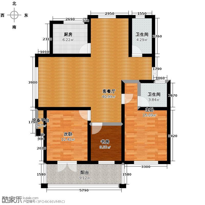 汇锦城121.40㎡金色港湾I1户型3室1厅2卫1厨