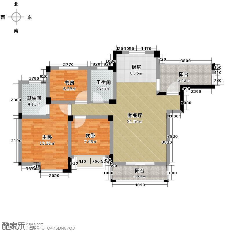 中电颐和家园114.96㎡B户型3室2厅2卫