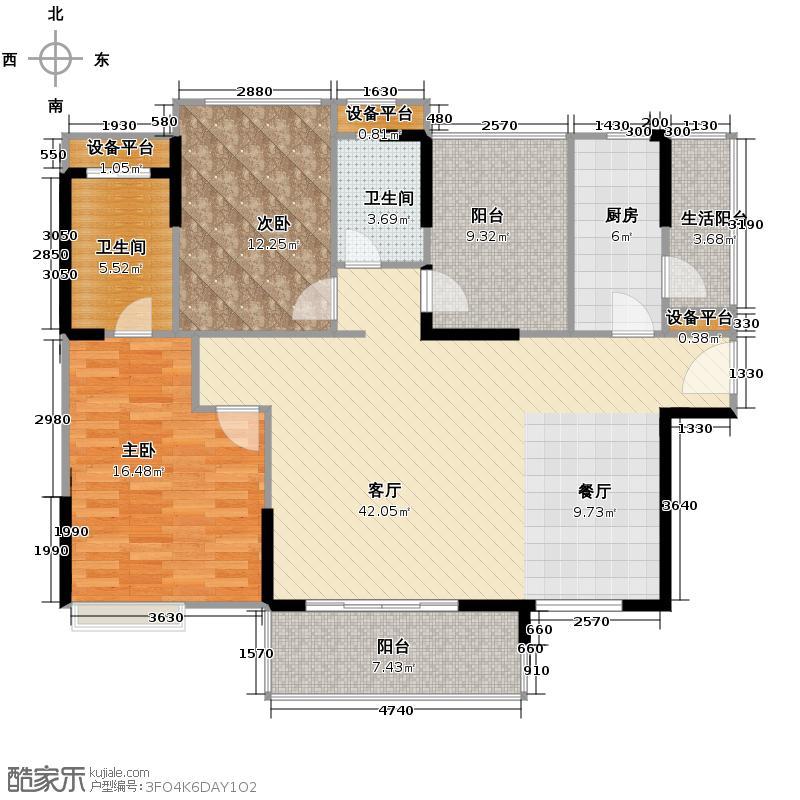 万科沁园125.00㎡&nbsp&nbsp三期公园里馨苑03/04单元户型2室1厅2卫1厨