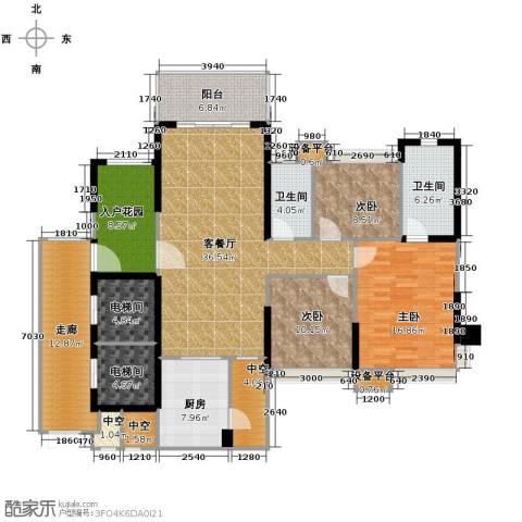 保利中环广场3室2厅2卫0厨136.16㎡户型图