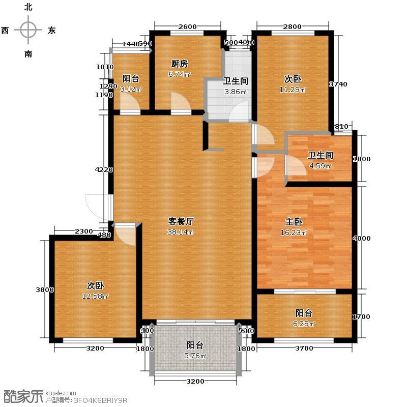 紫金东郡126.00㎡M3户型3室2厅2卫