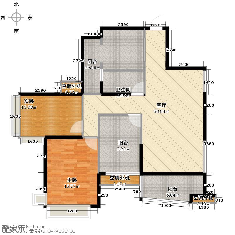 乐从雅居乐花园99.00㎡12座0106单元2室户型2室1厅1卫