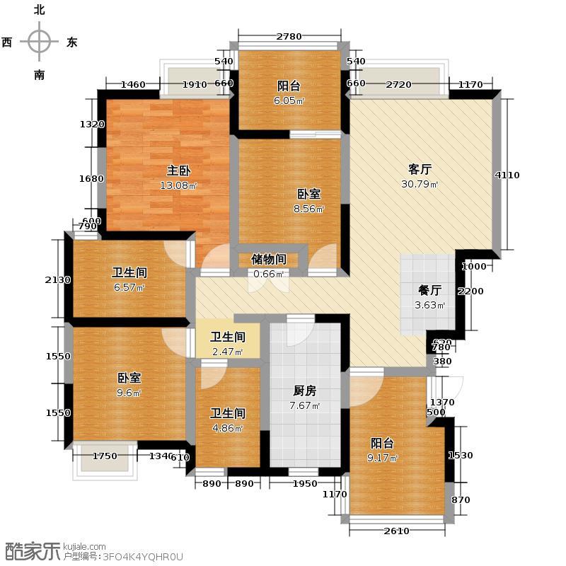 蓝谷地二期125.00㎡三期B-1型精致派户型1室1厅2卫1厨
