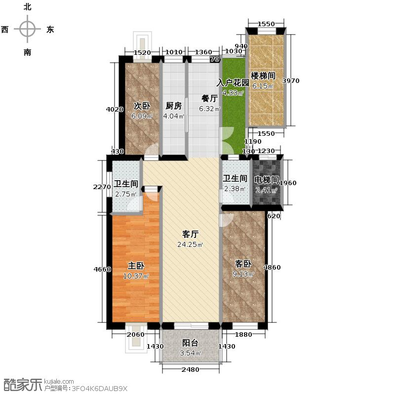 壹度恒园136.54㎡户型3室2厅2卫