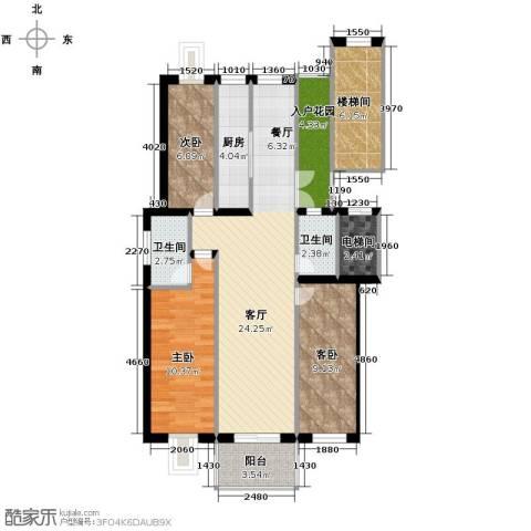 壹度恒园3室2厅2卫0厨86.37㎡户型图