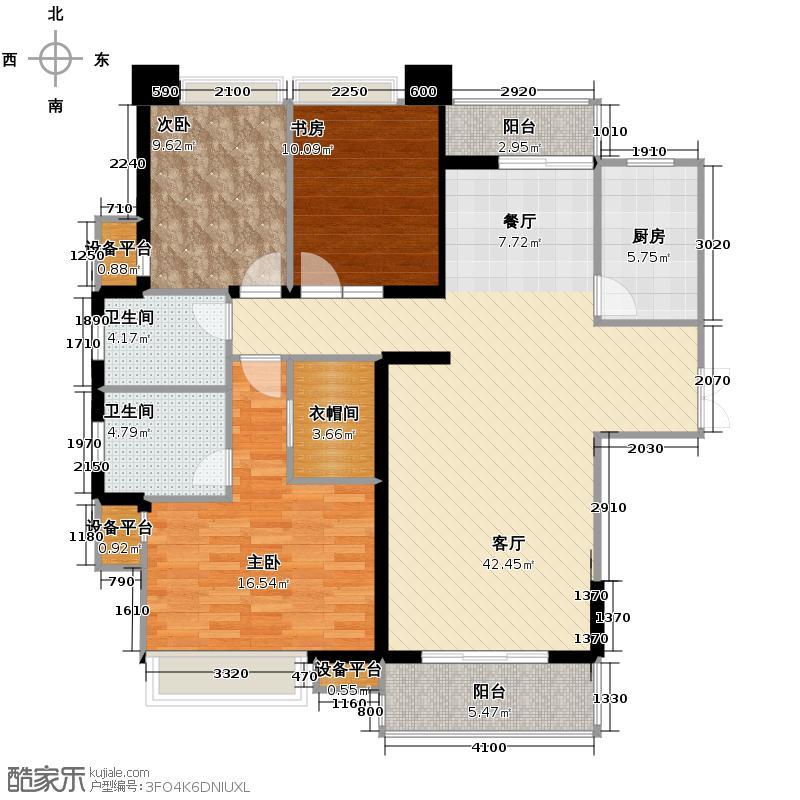 骏景华庭134.35㎡01栋A1型户型10室