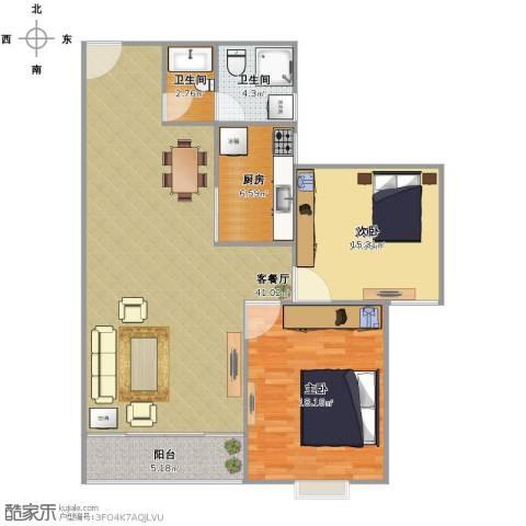 佳境天城2室1厅2卫1厨123.00㎡户型图