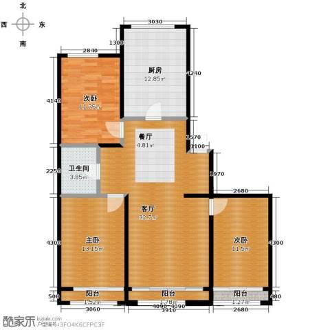 漾日华庭3室1厅1卫1厨118.00㎡户型图