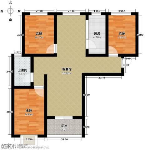 学府名城3室2厅1卫0厨110.00㎡户型图