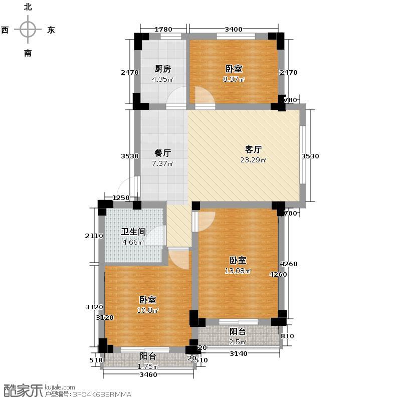爵士公馆88.53㎡G户型3室2厅1卫
