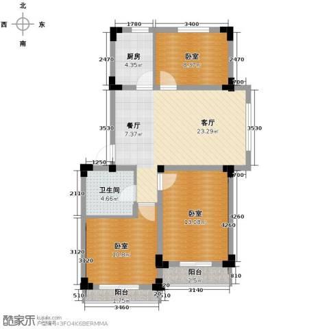 爵士公馆3室2厅1卫0厨89.00㎡户型图