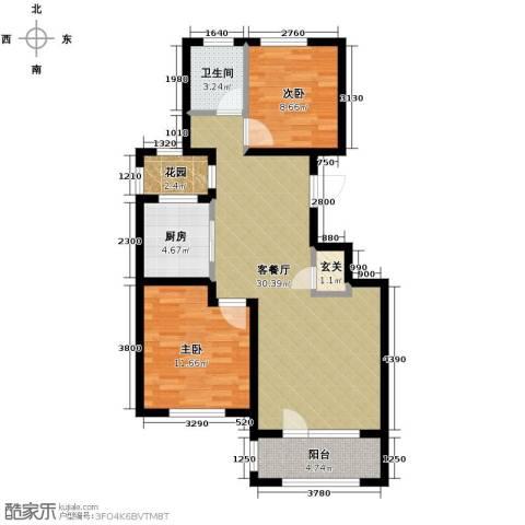 朗诗保利麓院2室2厅1卫0厨88.00㎡户型图
