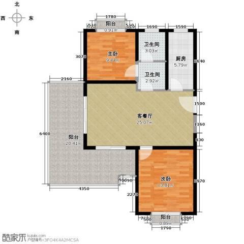 开维生态城2室1厅2卫1厨92.00㎡户型图