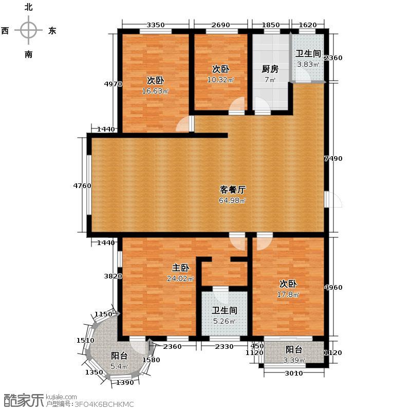 天水丽城223.18㎡三号楼三单元A四室户型4室1厅2卫1厨