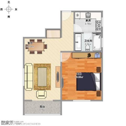 延吉东路1311室1厅1卫1厨60.00㎡户型图