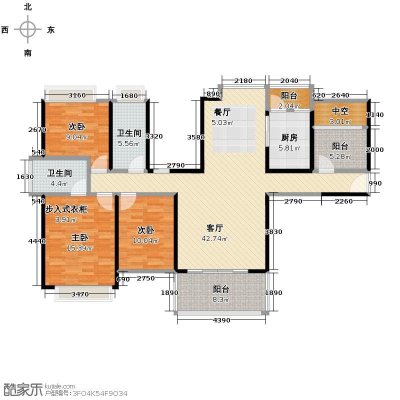 中熙香缤山125.54㎡3栋01、02户型3室1厅2卫1厨