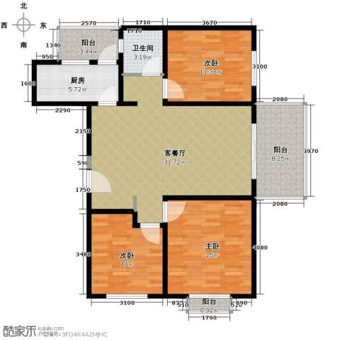 开维生态城3室1厅1卫1厨109.00㎡户型图